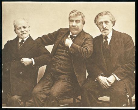 (Left to right) Yankev Dinezon, Y. L. Peretz, and Shloyme Zaynvl Rapoport (S. An-ski), Poland, ca. 1910