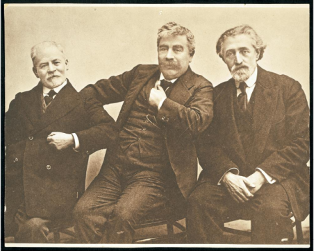 (Left to right) Yankev Dinezon, Y. L. Peretz, and Shloyme Zaynvl Rapoport (S. An-ski), Poland, ca. 1910
